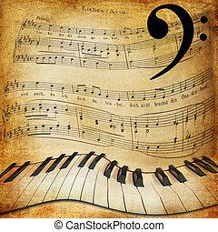 musique, piano, tordu, feuille, fond