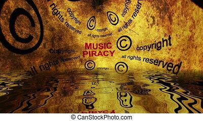 musique, piraterie, reflété, concept, eau