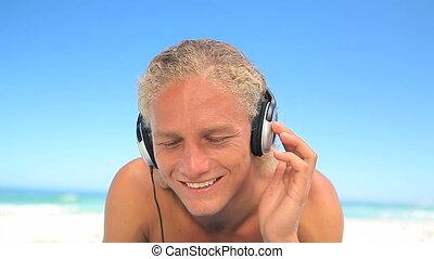 musique, quoique, prépolissage, homme, écoute, blond