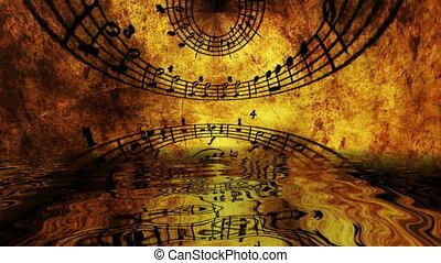 musique, reflété, feuille, eau