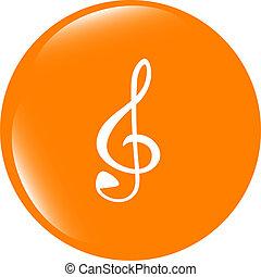 musique, rond, lustré, toile, icône, blanc, fond