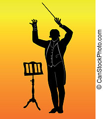 musique, silhouette, stand, conducteur