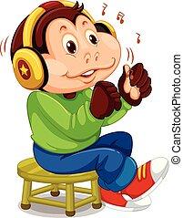musique, singe, écoute