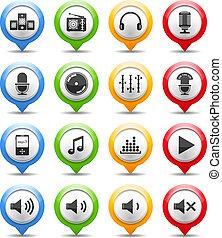 musique sonore, icônes