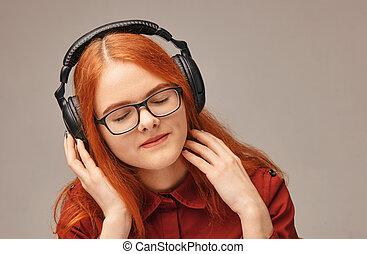 musique, très, écoute, écouteurs, jeune fille, heureux