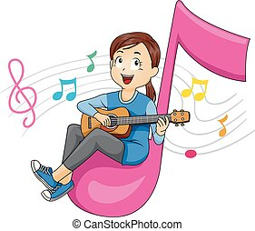 musique, ukulele, girl, gosse, illustration