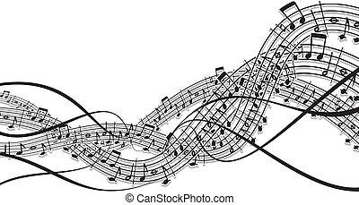 musique, vague, concevoir élément