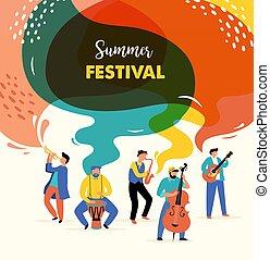 musique, vecteur, bannière, nourriture, rocher, conception, coloré, affiche, festival jazz, foire, fest, concept, été, vivant, événement, rue