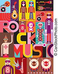 musique, vecteur, -, illustration, rocher