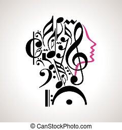 musique, vecteur, tête