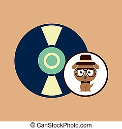 musique, vendange, symbole, chien, hipster, retro, fond, conception