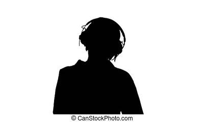 musique, vieux, intelligent, écoute, femme, silhouette, headphones.