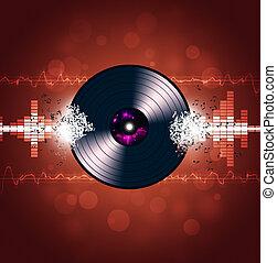 musique, vinyle, fond, vagues