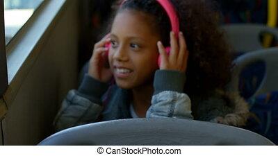 musique voyageant, écouteurs, girl, autobus, quoique, 4k,...