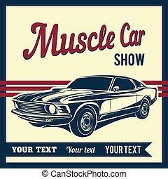 muskel, auto, plakat