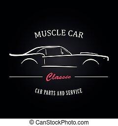 muskel, auto, silhouette.