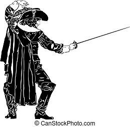 musketeer - black and white men in full-length Musketeers