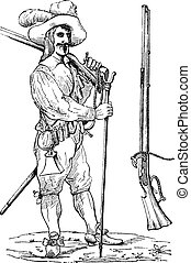Musketeer of the sixteenth and seventeenth centuries, with his fork and his musket, vintage engraving
