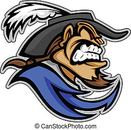 Musketeer or Cavalier Head with Hat and Goatee Beard Graphic Mascot Vector Image