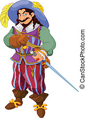 Musketeer's pride - Man with a period costume and a sword...