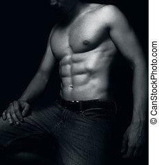 muskler, mand, anfald, fraværende., sexet
