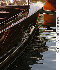 Muskoka Antique Boat - Reflections of an antique wooden boat...