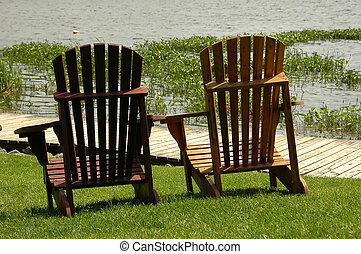 Muskoka Chairs - Muskoka chairs by the lake
