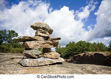 muskoka, inukshuk, formação rocha