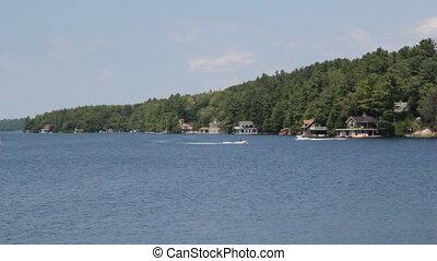 muskoka, shoreline, z, łódka, handel