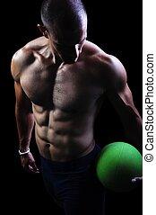 muskulös, atlet, man, övning, på, a, svart fond