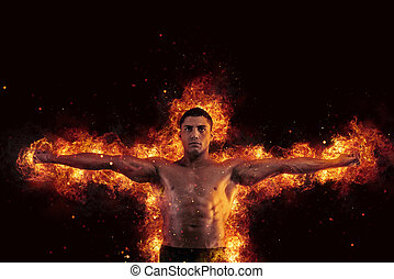 muskulös, av, a, organism anlägga, tränare, med, eld