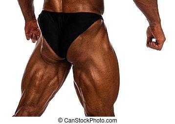 muskulös, bein, schenkel, von, a, bodybuilder