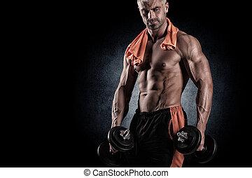 muskulös, bodybuilder, kerl, machen, übungen, mit, hanteln,...