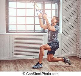 muskulös, fitness, mann, machen, übung, mit, trx.,...