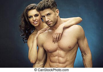 muskulös, hübsch, mann, mit, seine, reizend, freundin
