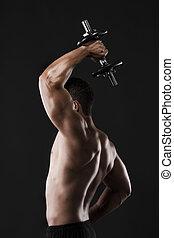 muskulös, herre lyftande vikt