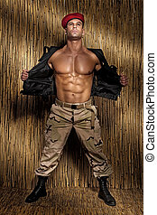 muskulös, junger, hübsch, mann, posing.