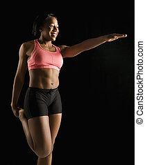 muskulös, kvinna, stretching.