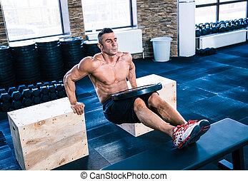 muskulös, man, genomkörare, hos, crossfit, gymnastiksal