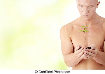muskulös, man, holdingen, liten, växt