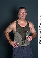muskulös, man, med, bottled bevattna