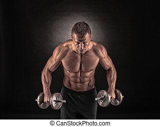 muskulös, man, med, hantlar, på, svart fond