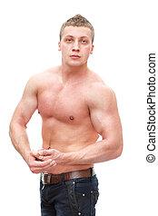 muskulös, man, med, naken, torso, isolerat, vita, bakgrund