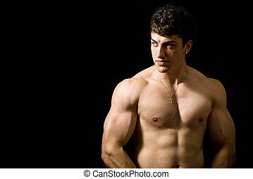 muskulös, man, på, svart fond