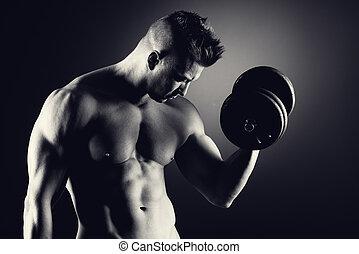 muskulös, man, tyngdlyftning