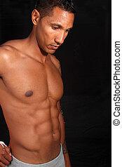 muskulös, manlig, fitness, modell