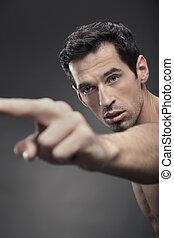 muskulös, mann, etwas, zeigen, junger