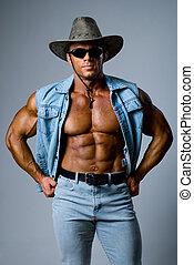 muskulös, mann, in, a, cowboyhut