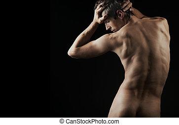 muskulös, mann, posierend, künstlerisch