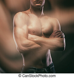 muskulös, nackter mann, auf, schwarz